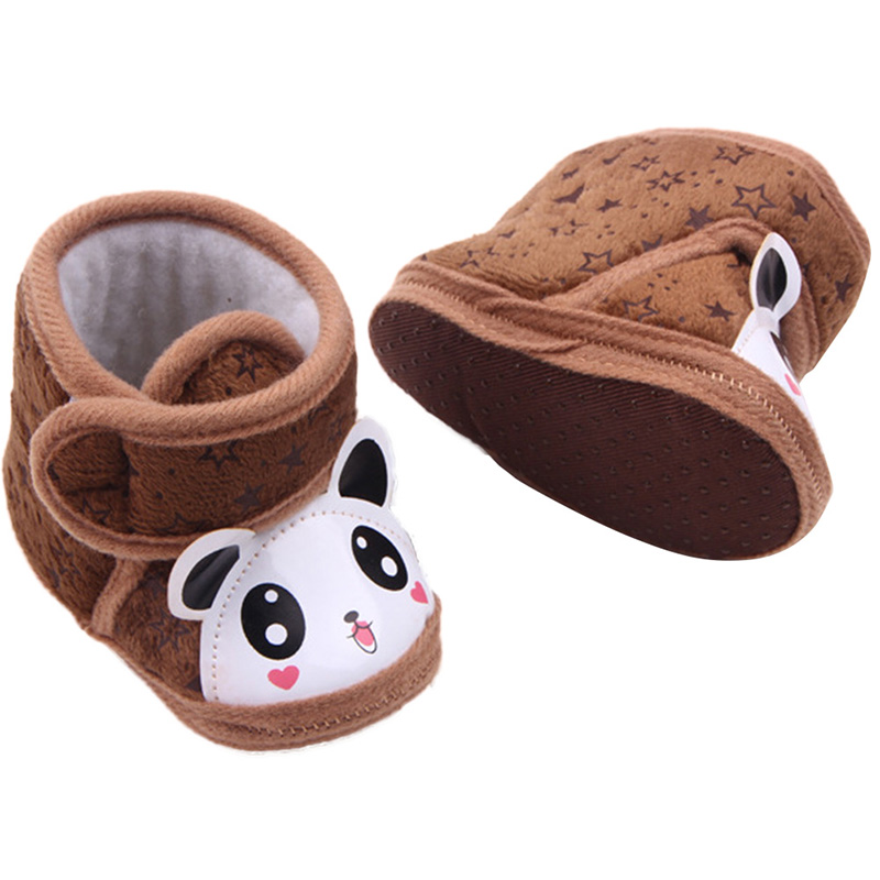 Bebe Newborn Baby Boots Boy Girl Warm Anti-slip Panda Soft Sole Slipper Shoes