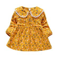 Autumn Princess Dresses Cotton Long Sleeve Kids Dresses For Girls Lovely Baby Dress Winter Flower Print Vestido baby girl clothes pretty girls dress lovely floral print long sleeve flower kids dress princess dresses spring autumn 2 colors