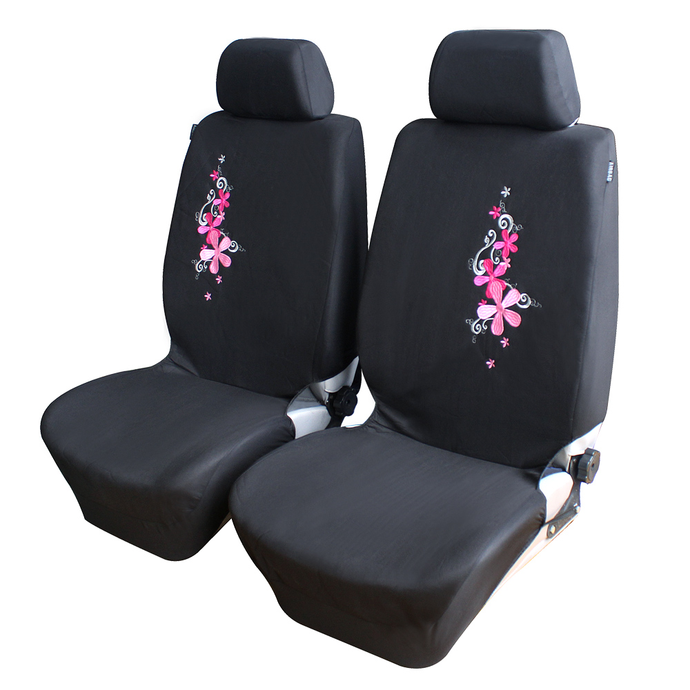 flower embroidery car seat covers universal fit set car seat protector for front rear seat. Black Bedroom Furniture Sets. Home Design Ideas