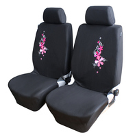 Flower Embroidery Car Seat Covers Universal Fit 9PCS Full Set Car Seat Protector For Front Rear
