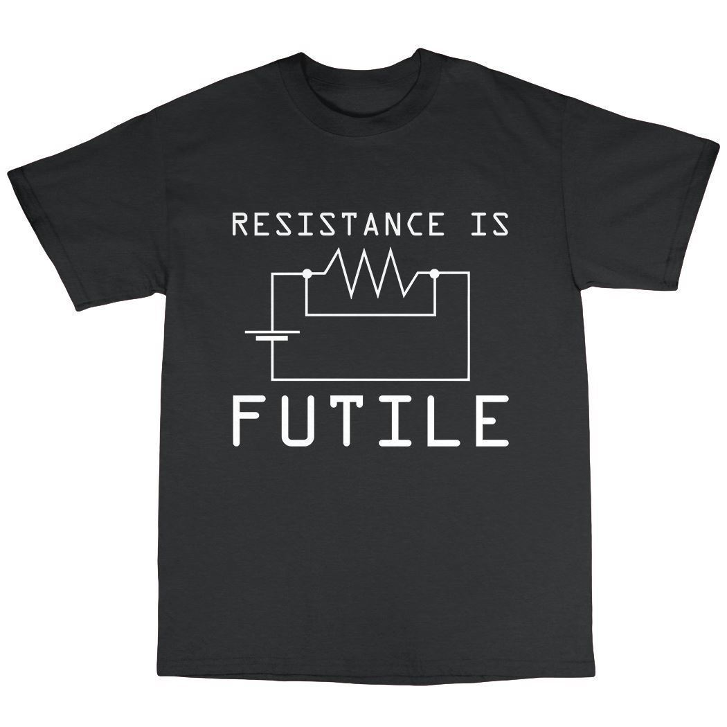 Resitance Is Futile T-Shirt 100% Cotton Geek Nerd Genius Computer Spock 2018 New Fashion MenS Top Tee Gray Style