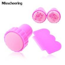 1 Набор розовый штамп для стемпинга пластиковый дизайна ногтей