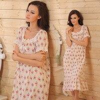 Renyvtil модные Летний стиль Для женщин пижамы хлопок сексуальное платье сна ночной рубашке дамы Для женщин домашняя одежда ночную рубашку жен...