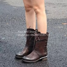 2016SS vintage leather multi straps boots desinger ankle boots women's cool combat boots top quality unique style shoes