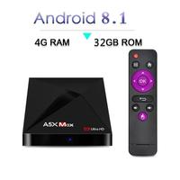 A5xmax Quad core TV Set top Box RK3328 4kTV Box Android8.1 4+32GB Wi Fi Media Player Set Top Box Network Player Box