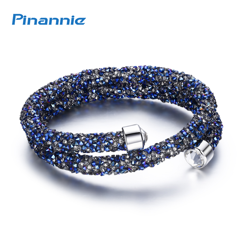 73cca96745 Pinannie Rhodium Plated 100% Austria Crystal Bracelets Bangles Jewelry  Party Gifts for Women
