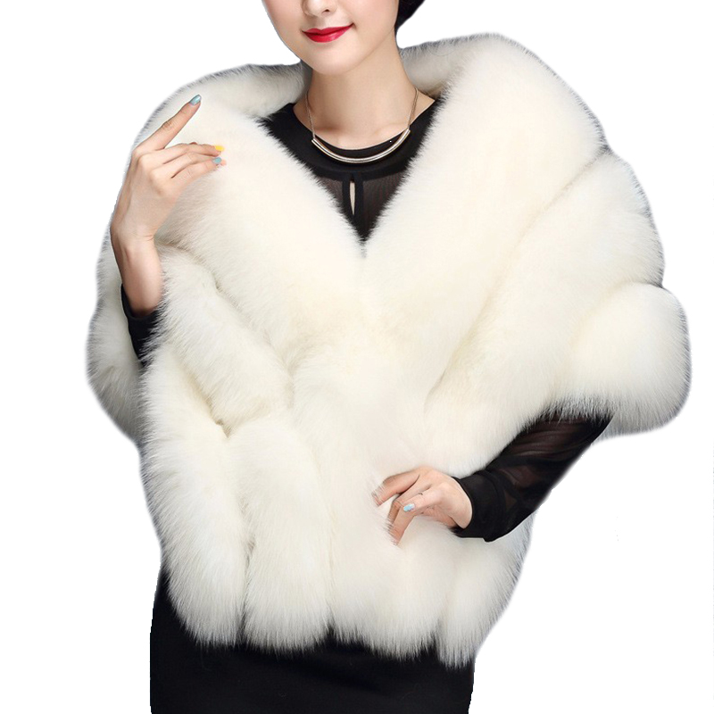 2018 Winter Warm White Bride Wedding Shawl Faux Fur Coat female Fur Vest Women Fur Shawl Cape Batwing Warm Shawls LJLS013