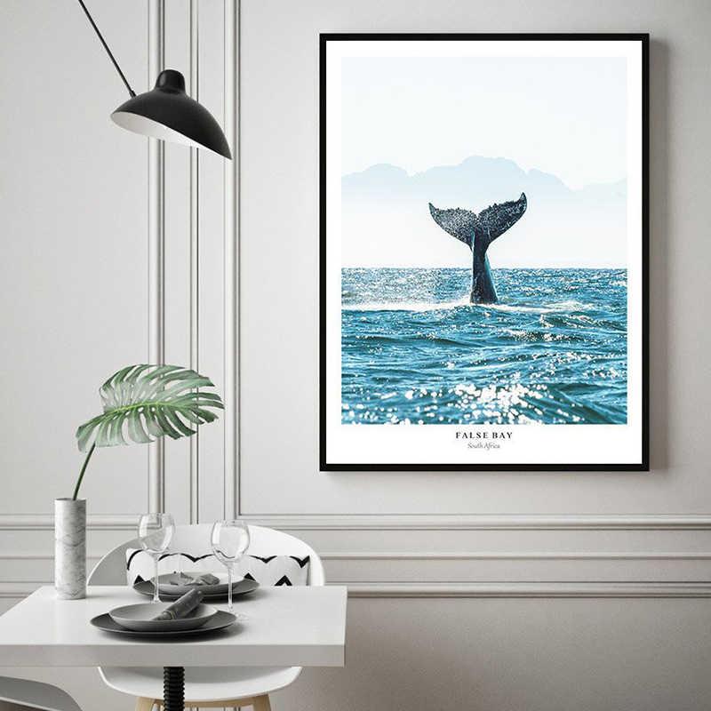 الحوت الذيل الملصقات والمطبوعات المناظر البحرية الشمال المحيط جدار الفن المحيط موجات قماش اللوحة صور حديثة لغرفة المعيشة ديكور