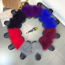 colourful Fur Furry Slide Sweet Feather Thick Bottom Beach Female Sandals Hair Flip Flops Women Home Slippers Indoor Soft