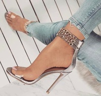 Clear PVC Strap High Heeled Women Sandals Gold Chain Metal Decoration High Heel Dress Shoes 2018 Summer Ankle Wrap Pumps