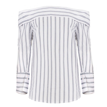 Off Shoulder Striped Print Women Shirts Sexy Long Sleeve Bodycon Blouse Elegant Party Female Tops