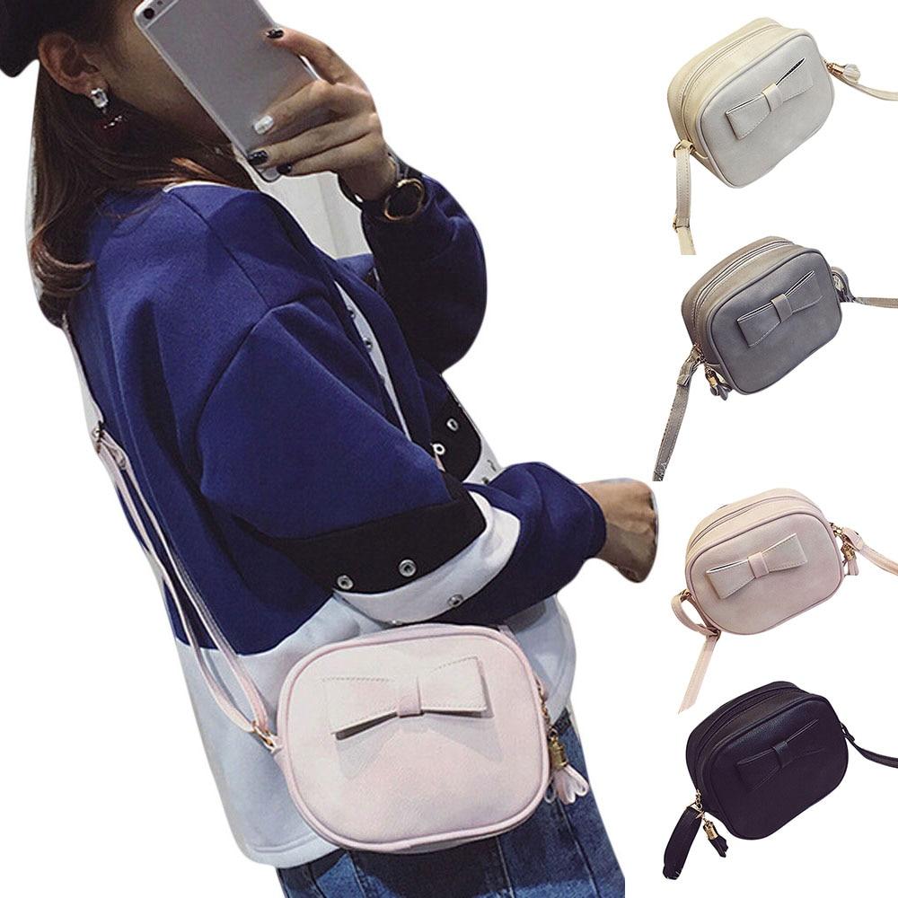 Fashion Korean Women Mini Shoulder Bag Bowknot Leather Zipped Adjustable Strap Solid Color Ladies Girls Messenger Bags P