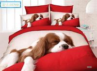 BEST.WENSD Quality bed comforter cover European and American style Cute puppy,cat,lion Sheet,Pillowcase &Duvet Cover Sets Animal