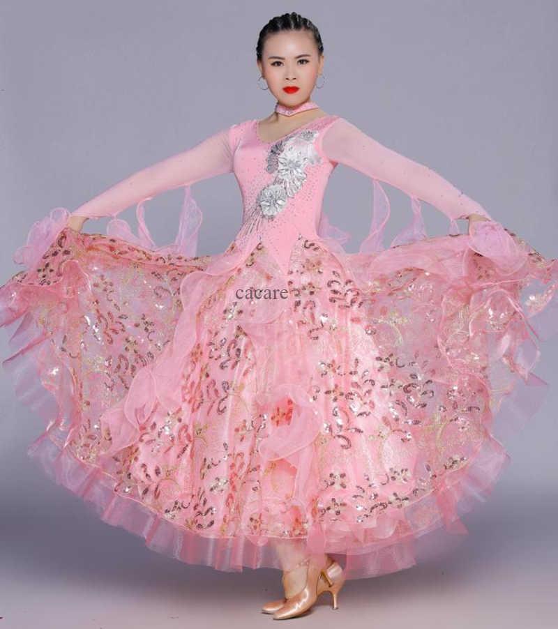 Бальные платья для вальса, платья для соревнований, бальные платья, стандартные индивидуальные 8 цветов D0270 с большим подолом и длинным рукавом, аппликация