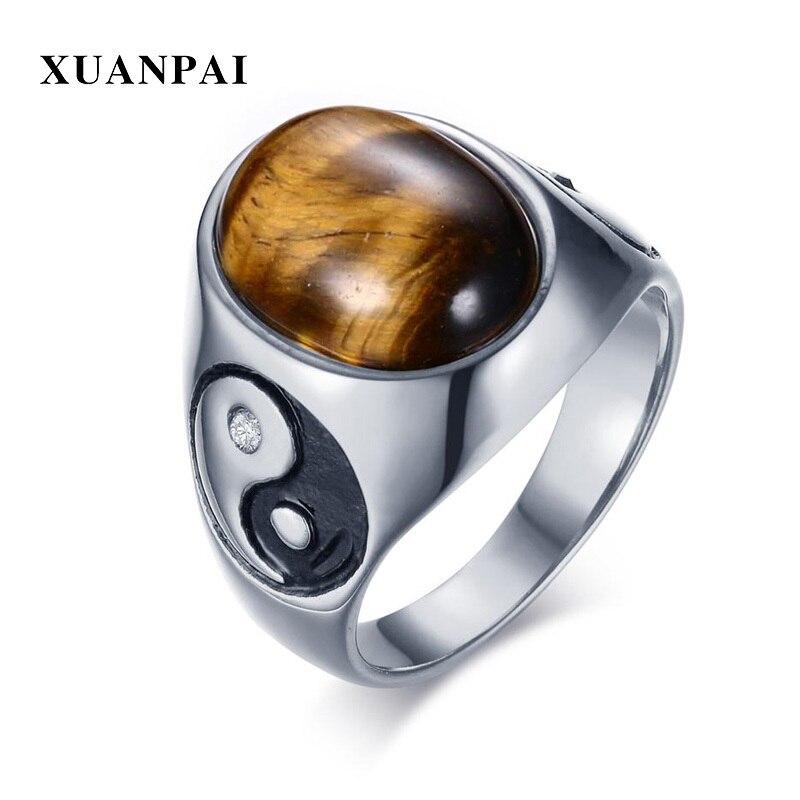 19.5mm Largura Do Anel de Olho de Tigre Pedras Marrons Homens Yin Yang Tai Chi Sliver Tone Aço Inoxidável Anéis Do Punk Menino anel Acessórios Presentes