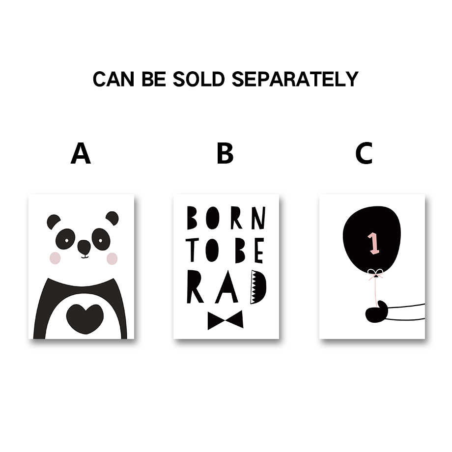 Panda Quotes Afflatus Minimalism Modern Cute Panda Life Quotes Canvas Painting