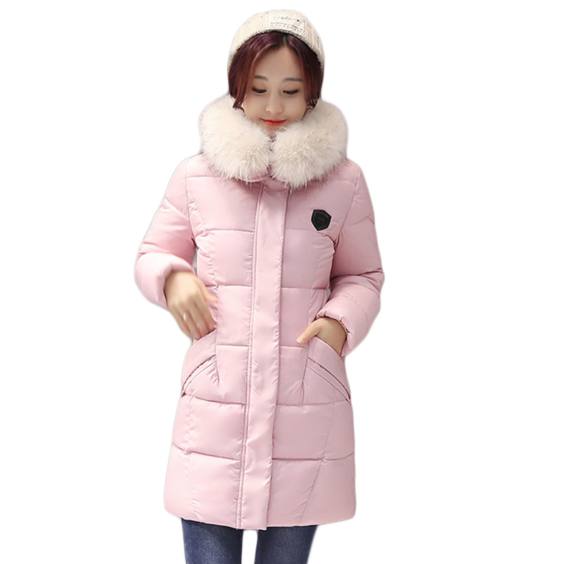 New 2017 Winter Cotton Coat Women Slim Outwear Medium-long Padded Jacket Thick Fur Hooded Wadded Warm Parkas Winterjas CM1556 2015 winter new women medium long 8 colors l 4xl hooded wadded outwear coat fur collar thick warm cotton jacket parkas lj2992