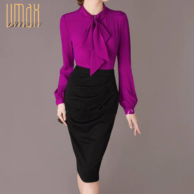 3b883598425 Free Shipping 2015 Fall Elegant Bow Collar Long Sleeve Purple Shirt Blouse  Career Ruffles Tops For Woman Size M- XL B66202