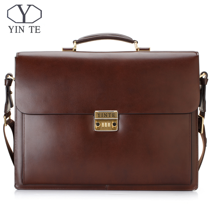 YINTE Brown Bag Leather Men's Big Briefcase Style Bag 15inch Laptop Bags Lawyer Handbag Document  Men's Portfolio Totes T8158-6
