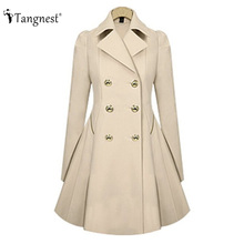 TANGNEST Women Trench Coat 2016 New Autumn Winter Slim Solid Color OL Brief Style Long Sleeve Turn-Down Collar coats WWF102
