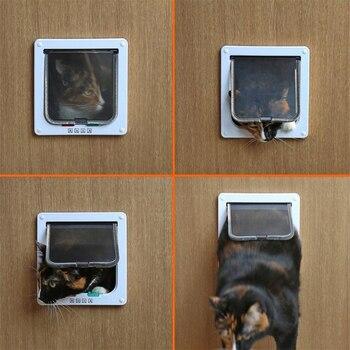 Pet Door 4 Way Lockable Dog Cat Kitten Door Security Flap Door ABS Plastic S/M/L Animal Small Pet Cat Dog Gate Door Pet Supplies 2