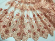 New Design Noble Fashion African Lace Fabric With Beads For Wedding Decoration 3D Embroidery Rhinestone Mesh Fabric