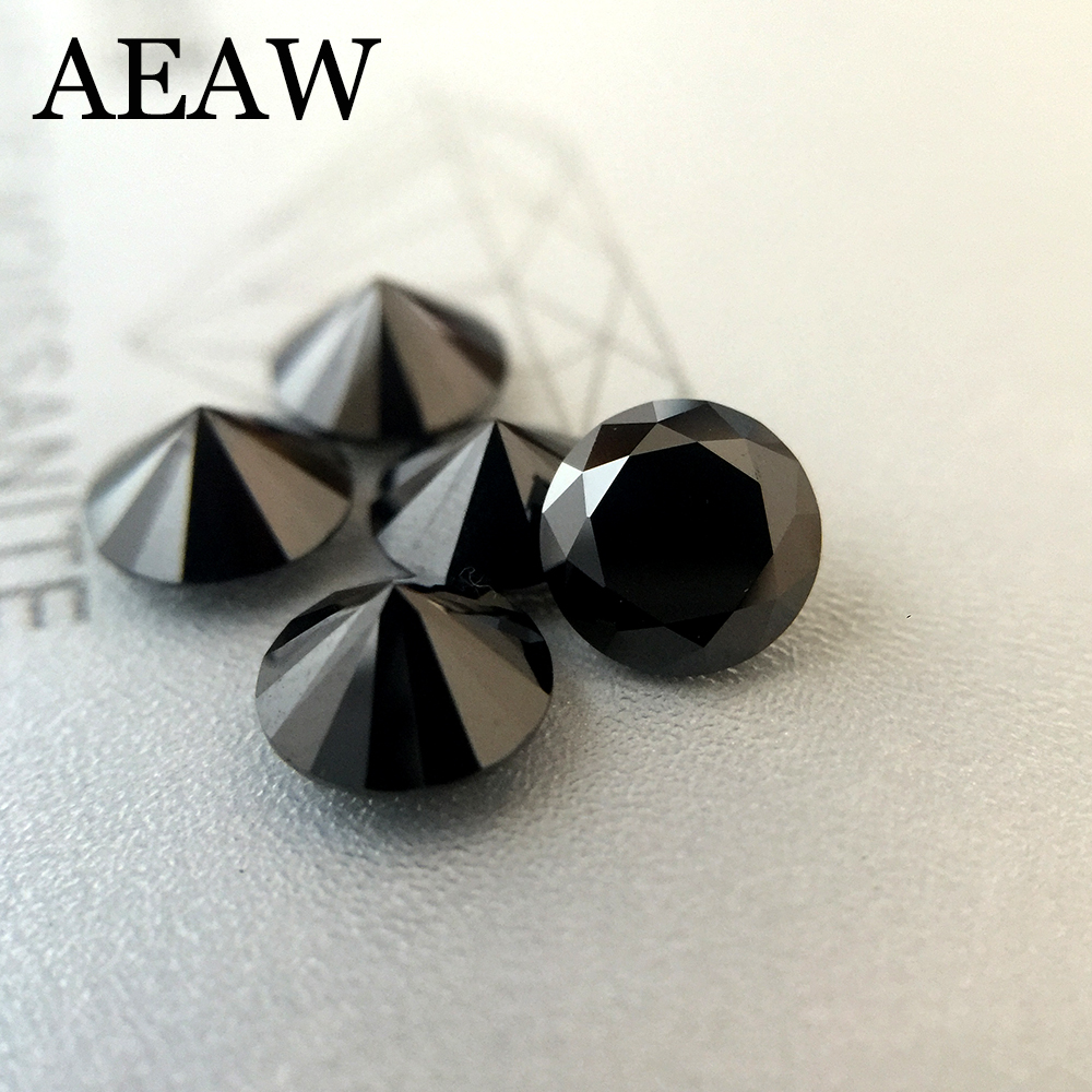 Brillant rond Cut 1.0ct Carat 6.5mm Noir Moissanite Lâche Pierre VVS1 Excellente Cut Grade Test Positif Lab Diamant
