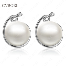 GVBORI 925 Sterling Silver Natural Seawater Pearl Diamond Earrings For Women Wedding/Ehgagement Jewelry Fine Jewelry Valentine