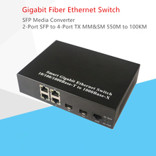 Anel De Fibra Gigabit de Rede interruptor óptico Interruptor de fibra optica 2 Port SFP Slot para RJ 45 4 Porta TX SFP Conversor de Mídia
