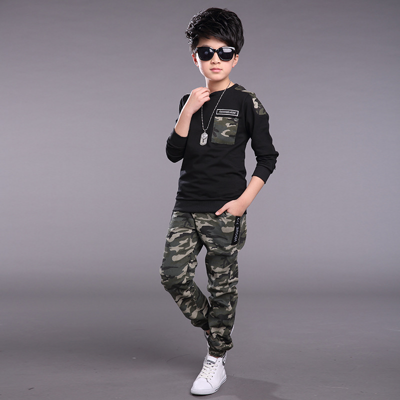 2b0b7ad2165 Boys Camouflage Tracksuits 2018 Spring Children White Black Long Sleeve  Jacket + Pants Outfit Kids Clothing Sets Age 3 12 T-in Clothing Sets from  Mother ...