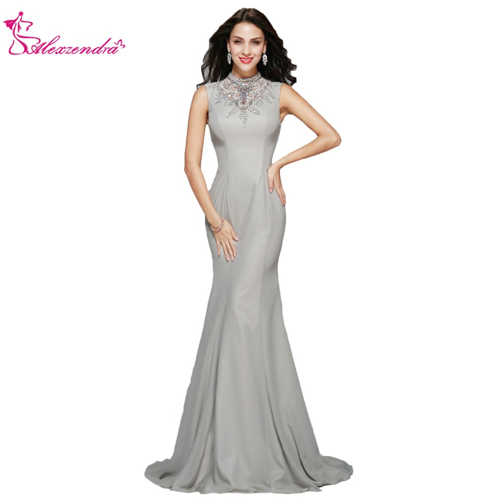 Alexzendra New Mermaid Gray/Silver Beaded Formal Evening Dress Plus Size High Neck Long Prom Dresses Special Party Dresses