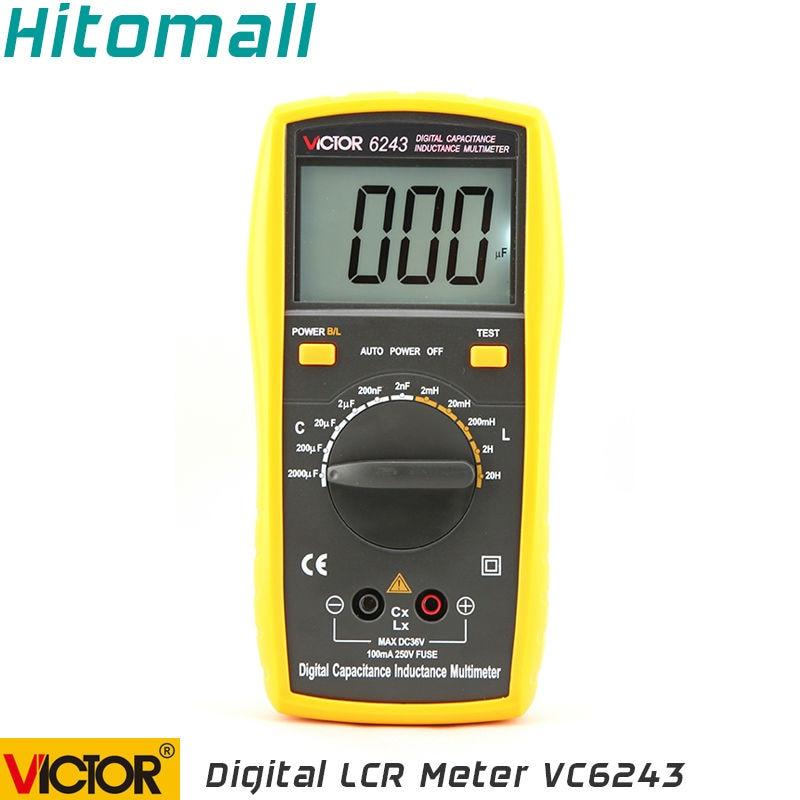 Professional Victor Inductance CAPACITANCE LCR Meter Digital Multimeter Resistance Meter VC6243 nflc victor digital multimeter 20a 1000v resistance capacitance inductance temp vc9805a