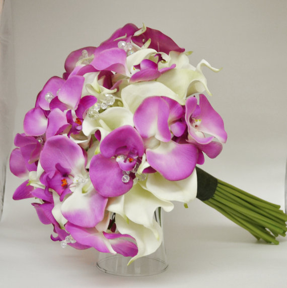 Romantic Artificial Bruidsboeket Wedding Bouquet Purple Moth Orchid