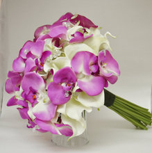 Romantic Artificial Bruidsboeket Wedding Bouquet Purple Moth orchid and white lily cala flowers bouquet home decoration