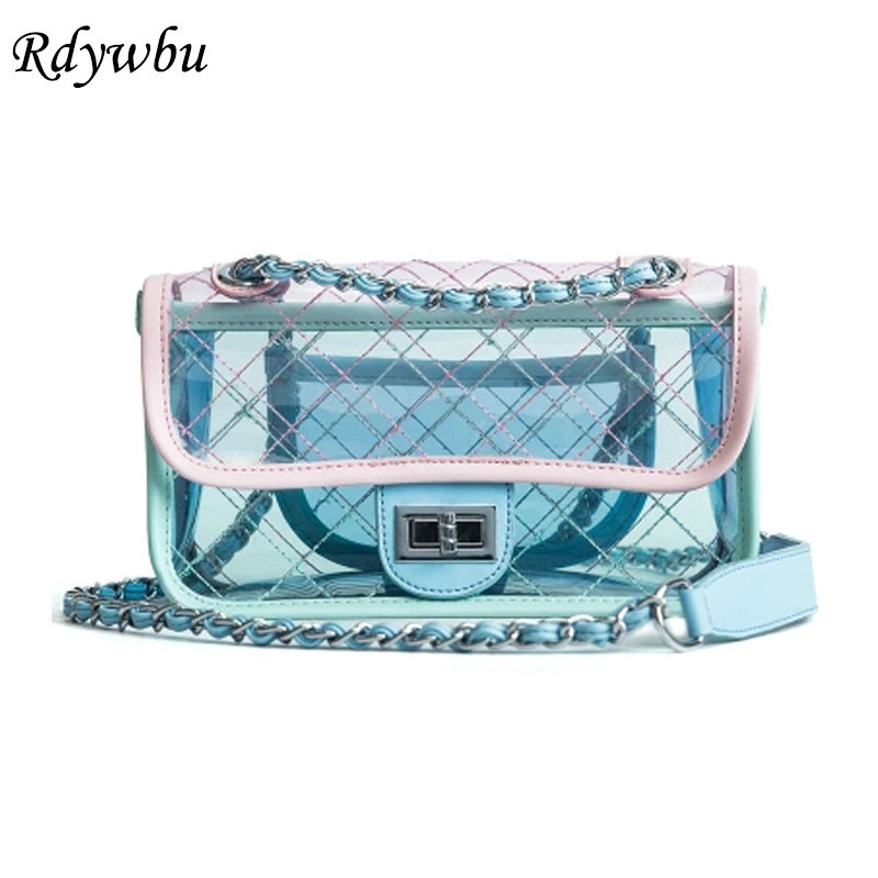 Rdywbu Brand Clear Transparent Plaid Shoulder Bag Women Summer Candy Jelly Chain Crossbody Bag Fashion PVC Travel Handbag B338 denim vintage quilted across bag women s blue jean plaid stylish brand fashion flap chain crossbody shoulder bag purse handbag