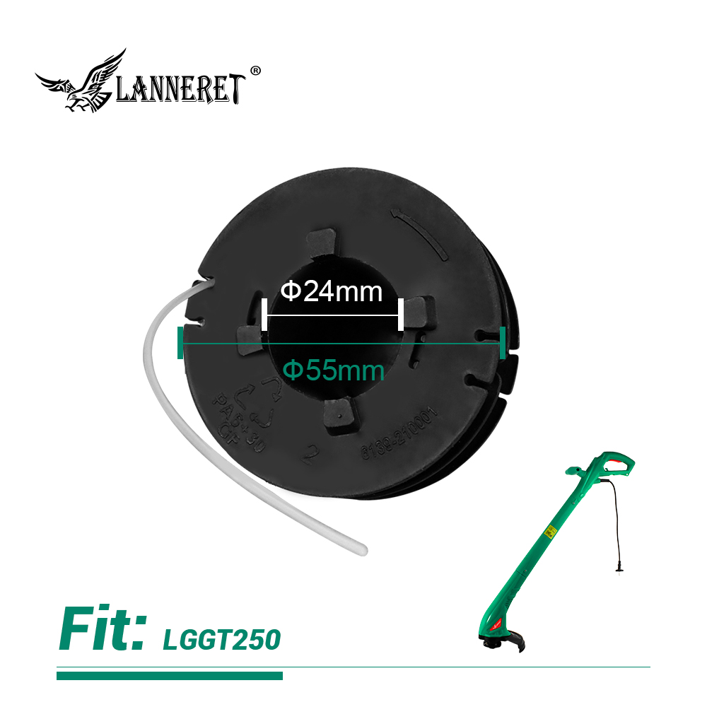 LANNERET GTH1.201 Dia.1.2mm Length 6m Universal Nylon Brush Mower Bump Spool Grass Trimmer Head W/1.2mm Cut White Rope