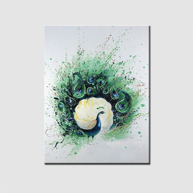 Pinturas abstractas de la lona pintado a mano del Pavo Real pintura ...