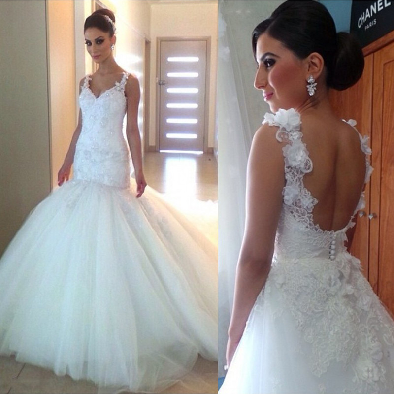 ><font><b>Backless</b></font> <font><b>Vestido</b></font> <font><b>De</b></font> Noiva Muslim Wedding Dresses Mermaid V-neck Tulle Lace Flowers Boho Dubai Arabic Wedding Gown Bridal
