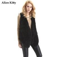 Alien Kitty Sleeveless Warm Womens Faux Fur Coat Thick 2017 New Streetwear Slim V Neck Open Stitch Female Vest Winter Jacket