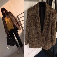 2018 The new vadim fashion blazer feminino boutique tweed wool coat winter features chain decoration disposition blazer dress