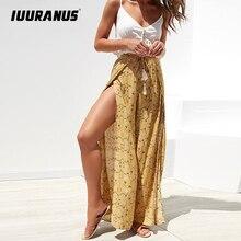 IUURANUS Casual High Waist Wide Leg Pants Women 2019 Summer Beach Split Trousers Female Holiday Vintage Floral Prints Capris