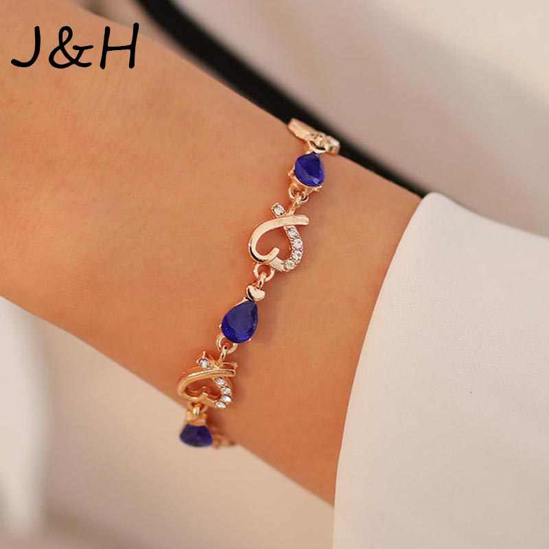 High Quality Austrian Crystal Heart Bracelet Gold Color Waterdrop Cubic Zirconia Bracelet & Bangles For Women Wedding Gift