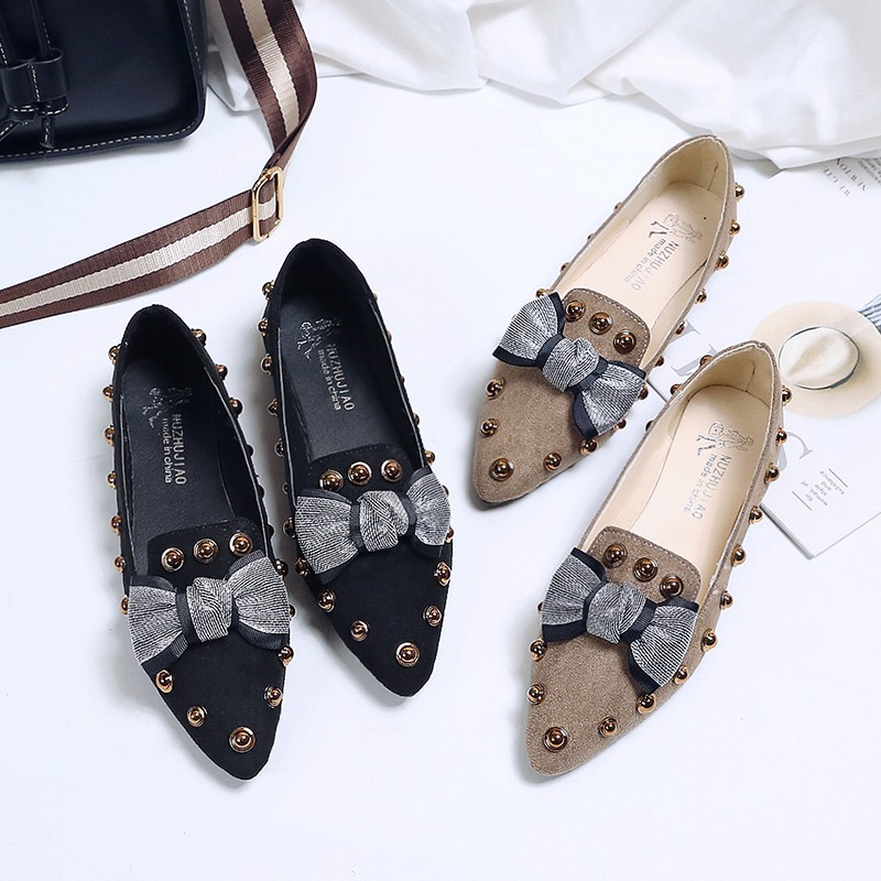 Spring Women Flats Bowtie Slip on Flat Shoes Rivets Boat Shoes Woman Casual Shoes sneaker Ladies Shoes zapatos mujer loafer 7080 8