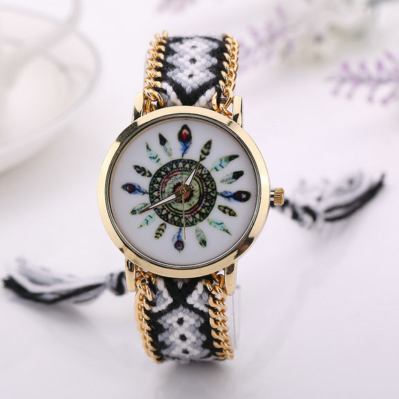 Fashion Dress Watches For Women PU Leather Band Flower Pattern Quartz Wrist Watch Watches Clock Hours