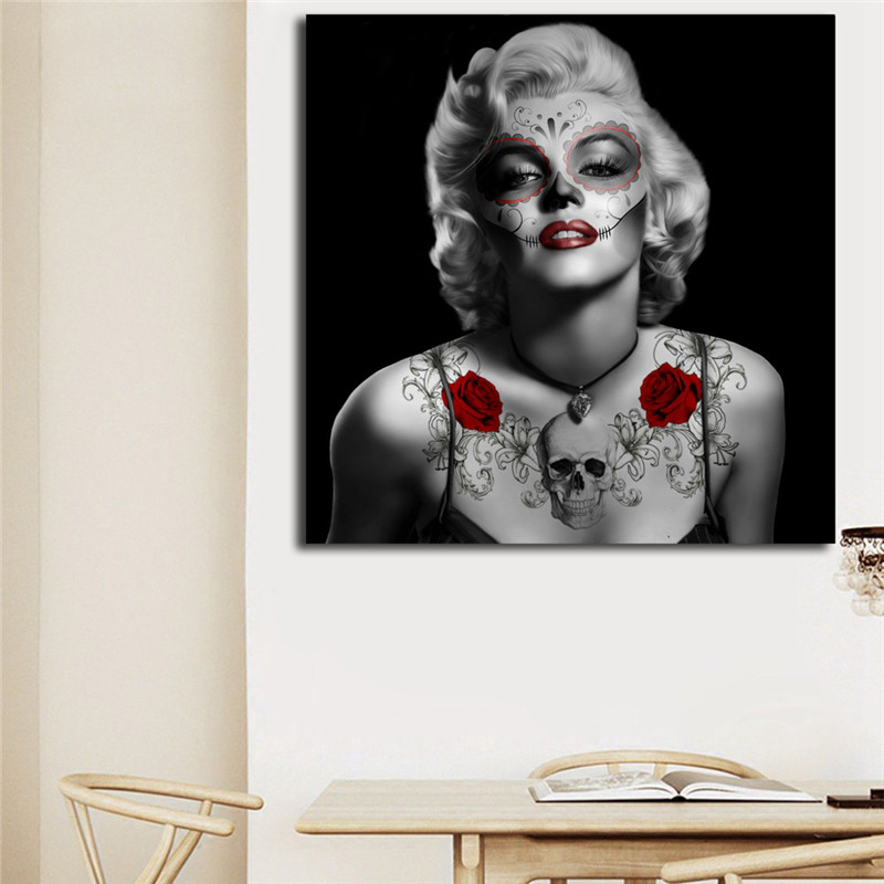 Marilyn Monroe Sugar Skull Tattoo Wall Art Canvas Posters Prints Painting Pictures For Bedroom Modern Home Decor Framework