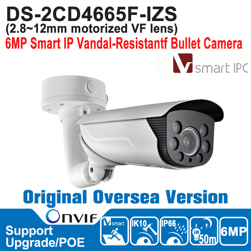HOT DS-2CD4665F-IZS HIK IP Camera 6MP POE Outdoor 6MP Smart IP Vandal-Resistantf Bullet Camera Smart IPC H.264+/MJPEG hik hot ds 2cd6362f iv hik ip camera 6mp poe indoor 6mp network fisheye camera h 264 h 264 mjpeg support microsd sdhc