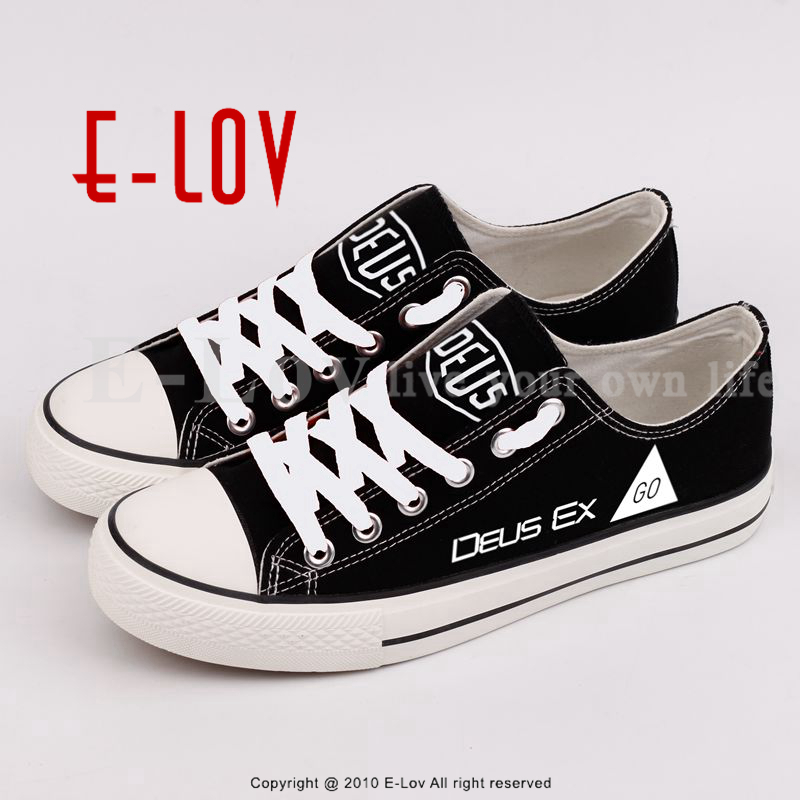 E-LOV New Fashion Women Canvas Shoes Printed DEUS EX Letters Flat Shoes Big Size Custom Couples Shoes For Gift Free Shipping поло print bar гидра