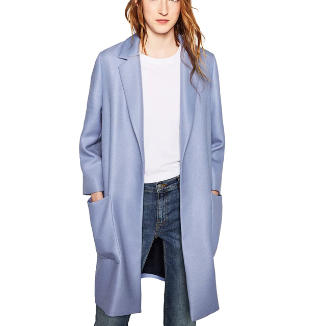 European Women Autumn Winter Fashion Blue White Pockets Open Stitch Trench Coats Female Lapel Casual Brand Tops Simple Style