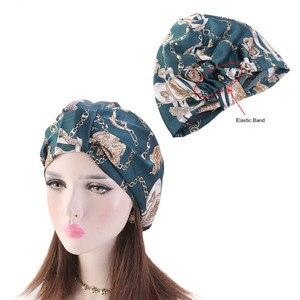 Image 3 - Muslim Women Silky Sleeping Turban Hat Cancer  Chemo Beanies Bonnet Cap Bandans Headwear Head Wrap Hair Accessories