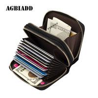 AGBIADD Men Women S Genuine Leather RFID Secure Spacious Cute Double Zipper Card Wallet Small Purse